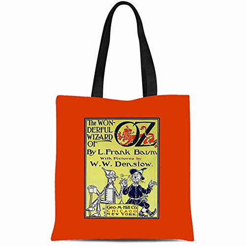 Ahawoso Canvas Tote Bag 14x16 Inches Classic Vintage Wizard Of Oz Book Durable Reusable Custom Shopping Shoulder Grocery Bag