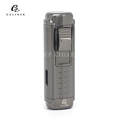 GALINER Lighter 4 Jet Torch Red Flames Butane Gas Fluid Adjustable Cigarette Cigar Lighter with Punch Cutter