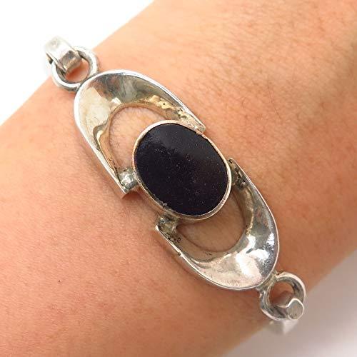(925 Sterling Silver Vintage Mexico Real Black Onyx Hinged Bangle Bracelet 6 1/4