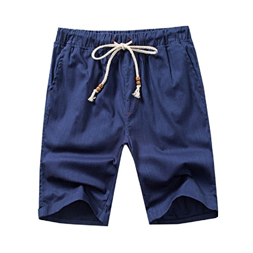 BSTBUWIN Men's Drawstring Linen Textured Bechwear Swim Trunk