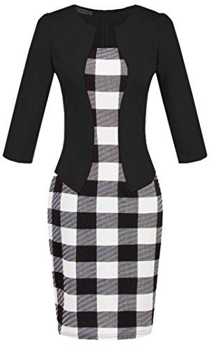 Vídeo de las mujeres Patchwork Slim Fit elegante Business cóctel fiesta animada Bodycon vestido Estilo 2
