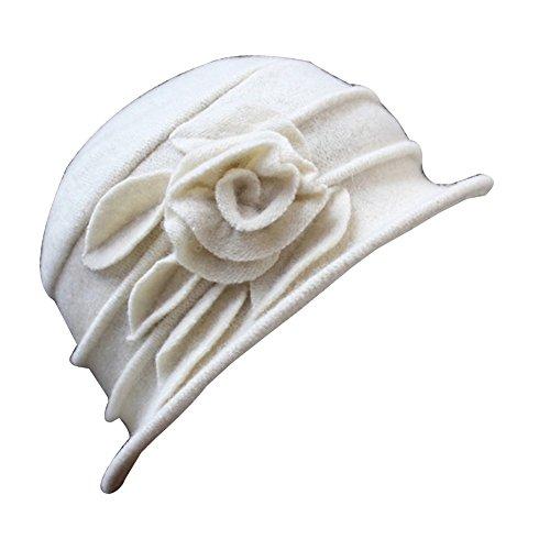 Potato001 Vintage Women Wool Church Cloche Flapper Hat Lady Bucket Winter Flower Cap (White)