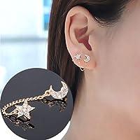 Luxury Women Gold plated Moon & Star Shape Crystal Rhinestone Earrings HFCA