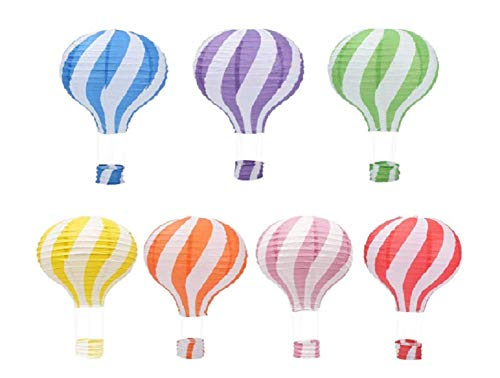 Pack of 7 New Pattern Stripy Hot Air Balloon Paper Lantern Wedding Party Decoration Craft Lamp Shade (16