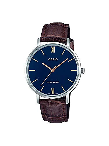 Casio LTP-VT01L-2B Women's Minimalistic Blue Dial Brown Leather Band Analog Watch