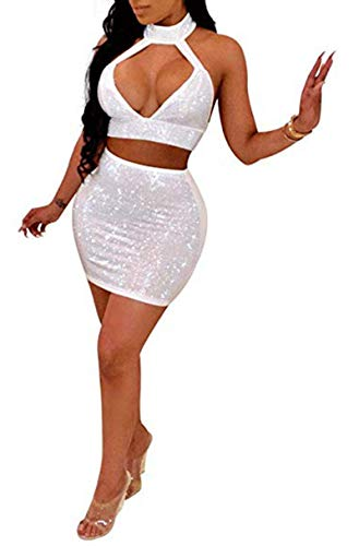 2 Piece Set Sexy Sequin Halter Top with Mini Skirt Sparkle Club Outfits ()
