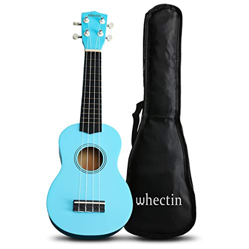 Whectin Soprano Ukulele Basswood Uke 21 Inch Mini Guitar with Gig Bag Nylon Strings Gifts for kids Students and Beginners Blue