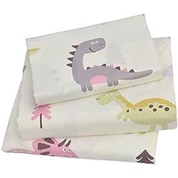J-pinno Cute Cartoon Pink Dinosaur Twin Sheet Set for Kids Girl Children,100% Cotton, Flat Sheet + Fitted Sheet + Pillowcase Bedding Set