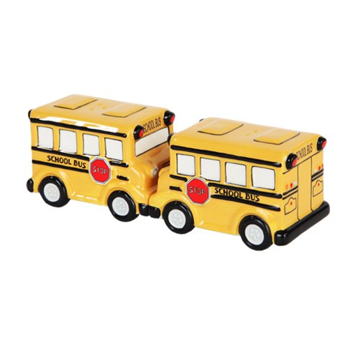 3''L Double School Buses Magnetic Salt & Pepper Shakers -Attractives Collection