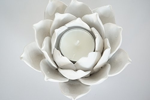 - Ceramic Lotus Petals Style Flower Candle Holder Tea Lights Holder Home & Table top Decoration (White)