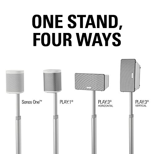 Sanus Height Wireless Speaker Stands Designed for SONOS ONE, Play:3 Tool-Free Adjust with Management - - WSSA2-W1