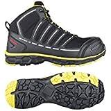 "Toe Guard TG8052042 Safety Shoe,""Jumper"" S3, Size 8, Black/Lime Green"