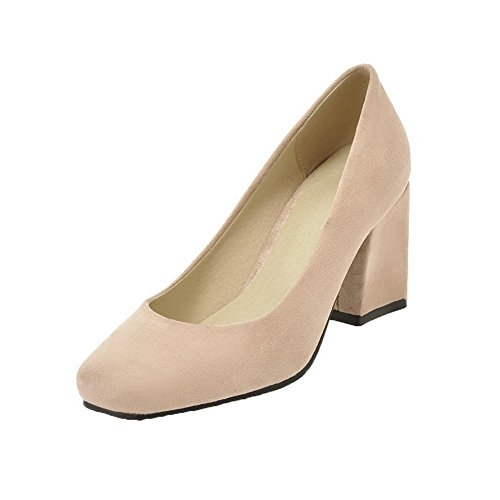 Closed Schuhe Toe Damen Pull VogueZone009 Heels Frosted Kitten Pumps Solid On Beige T6Rqn5nw