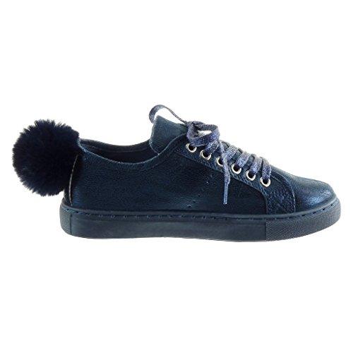 Angkorly - Women's Fashion Shoes Trainers - pom pom Block Heel 2.5 CM Blue zn507DeGE
