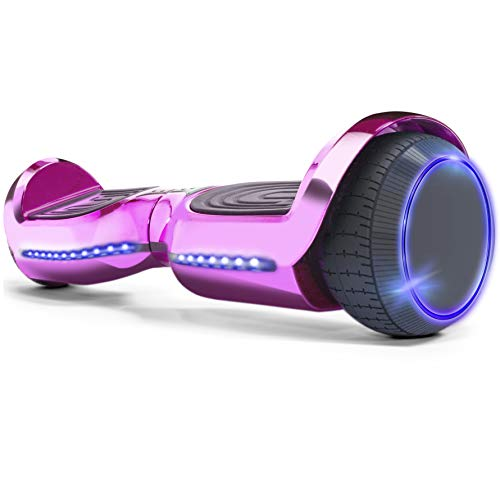 XtremepowerUS 6″ Self-Balancing Pink Hoverboard LED Light Bluetooth Speaker (SGS Certified) Hover Board for Kids & Adults