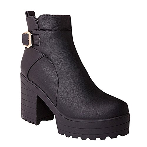 Mee Shoes Women's Chic Zip High Heel Block Heel Platform Short Boots Black