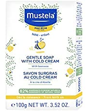 Mustela Gentle Soap, Baby Bar Soap with Cold Cream, Ceramides and Natural Avocado Perseose, for Dry Skin, 100 g.