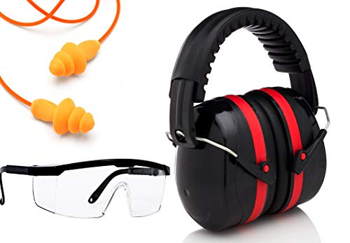 Ear Protection Muffs set, Ear Plugs, Scratch Resistant Safety Glasses Kit and Free Paper Target | Noise Filtering Hearing Protection For Firearms Shooting, Aviation, Mowing Gift Set (Black and Red)