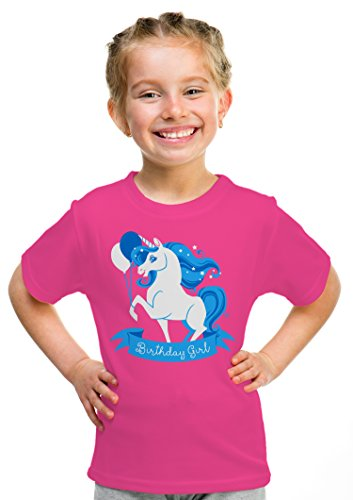 Price comparison product image Birthday Girl Unicorn | Neon Pink Unicorn B-day Party Top Girls' Unisex T-shirt - (Youth,S)