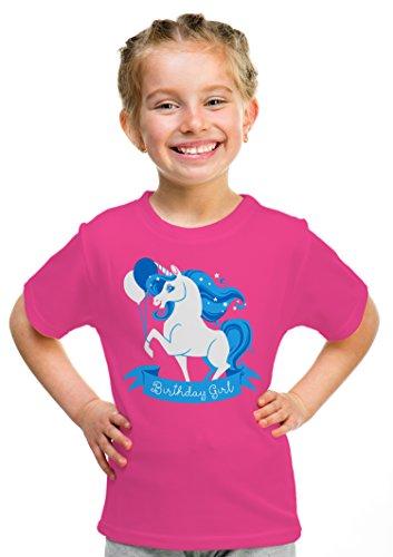 Birthday Girl Unicorn | Neon Pink Unicorn B-day Party Top Girls' Unisex T-shirt - (Youth,S)