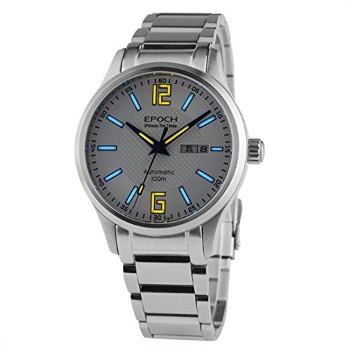 EPOCH 7012G Steel Strap Waterproof 100m tritium Gas Luminous White dial Steel Strap Mens Business Automatic Mechanical Watch (Watch Epoch)