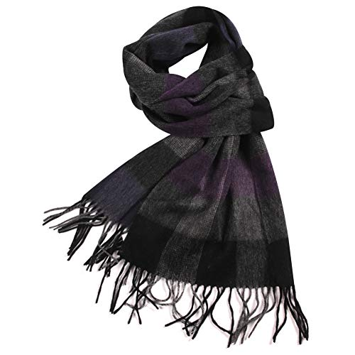 WAMSOFT Wool Scarf Neck, 100% Wool Mens Womens Scarf Winter Scarf Plaid Cozy Premium Warm Fringe Fashion knit Scarfs(1 Pack-Purple&Grey Plaid) - Knit Fringe Scarf