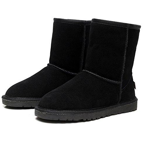 Shenn Women's Winter Warm Classic Mid-Calf Suede Leather Snow Boots Black 7H4IlB3