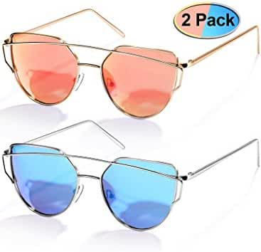 Elimoons Cat Eye Sunglasses 2 Pack Women Mirrored Polarized Metal UV 400 Fashion Glasses