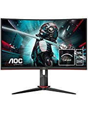 "Monitor AOC CQ27G2U/BK- Pantalla para PC Curvo de 27"" QHD (resolución 2560x1440, 1ms, 144 Hz, VA, FreeSync, Altavoces, VESA, HDMI, Displayport, USB)"