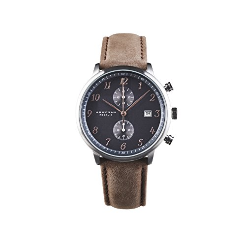 Armogan Regalia - Silver Black S35 - Men's Chronograph Watch Leather Strap (Chronograph Mens Silver)