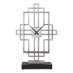 My Swanky Home Retro Modern Geometric Tall Table Clock | Mantel Desk Silver Black Midcentury