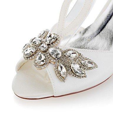 Fibbia scarpe Basso aperta Punta per Best Cristalli festa e sposa 4U® Matrimonio donna da Da ivory Serata Scarpe Raso Decolleté elasticizzato Estate xZA8Sq