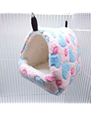 SEIS Hamster Love Pattern Hammock Chinchillas Warmth Supplies Small Pets Cotton Nest Rat Nest Mat for Squirrel Hedgehog Guinea Totoro Pig Bed House Cage Nest Hamster Accessories (Pink, S)