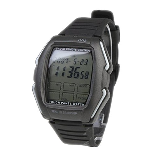 Price comparison product image Black Touch Screen TV/DVD/VCR Remote Controlled Chronograph Calendar Alarm Stopwatch Wrist Watch LED Digital Back Light Sport Watches For Men