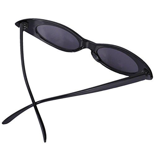 ojo frescas Amarillo sol SODIAL sol Gafas Retro de Gafas UV400 tamano pequenas Marco pequeno de Gafas Mujeres ovaladas Negro de de gato Gafas de Mujeres wqqEOgXx7r