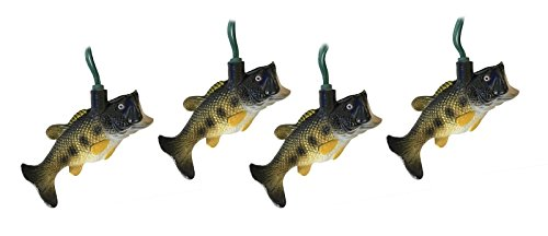 Fish String Lights - Christmas Tree Lights Bass Fish Decoration Lights Large Mouth Bass Holiday Ornament Lights (10 Foot)