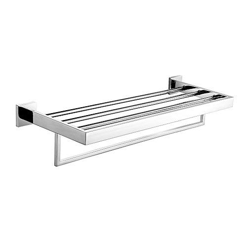 Leyden Wall Mount Bathroom Contemporary Chrome Finish Stainless Steel Material Bathroom Shelves