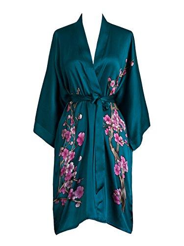 Old Shanghai Women's Silk Kimono Short Robe - Handpainted, Cherry Blossom Teal by Old Shanghai
