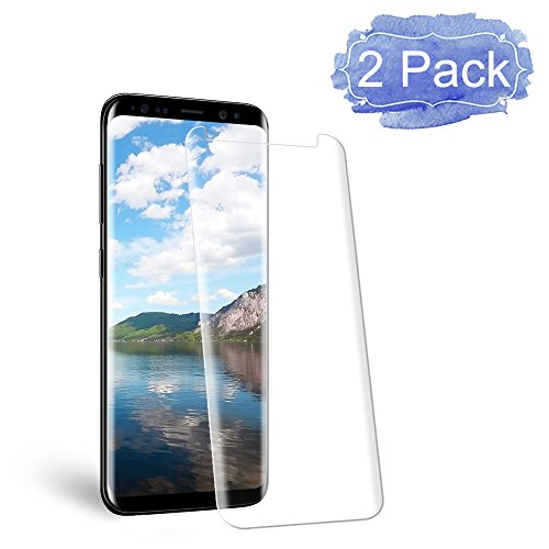 [2 Pack] Galaxy S8 Screen Protector, Auideas [9H Hardness][Anti-Scratch][Anti-Bubble][3D Curved] [High Definition] [Ultra Clear] Tempered Glass Screen Protector for Samsung Galaxy S8