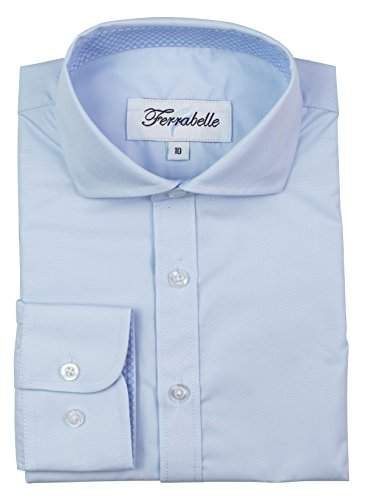Ferrabelle Boys Long Sleeve Fashion Button Down Dress Shirt (8, Baby Blue)