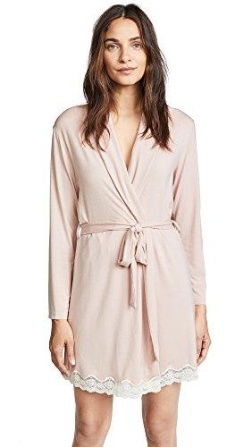 Eberjey Women's Lady Govida Robe, Pink Clay/Off White, - Jersey Lace Robe
