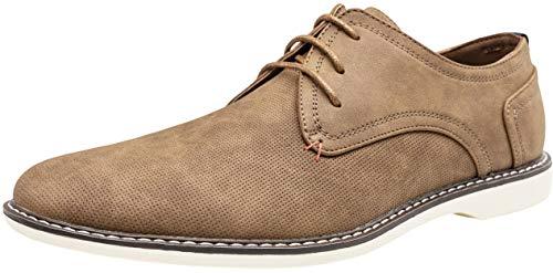 JOUSEN Men's Oxford Classic Plain Toe Casual Derby Dress Shoes (9.5,Brown-d)