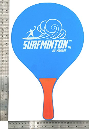 VIAHART Surfminton Classic Beach Tennis Wooden Paddle Game Set (2 Balls, 2 Thick Water Resistant Wooden Rackets, 1 Reusable Mesh Bag)
