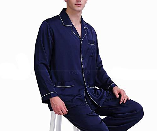 Mens Silk Satin Pajamas Set Pajama Pyjamas Set Sleepwear Loungewear,Wine Red,L by Toping Fine sleepwear (Image #4)