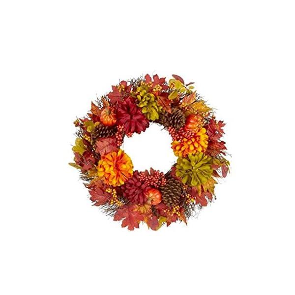 Northeast Harvest Red Green Silk Flowers Chrysanthemum Pumpkin Berries and Pinecones Autumn Thanksgiving Twig Wreath, 21-Inch