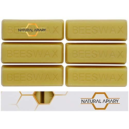 NATURAL APIARY - 100% General Use Beeswax Bars - 6 x 1oz Bars - DIY Projects, Candle Making, Furniture Polish, Crafts
