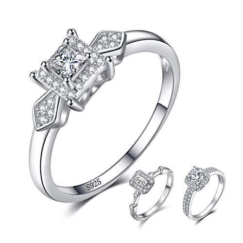 JewelryPalace Exquisite 0.4ct Princess-Cut Cubic Zirconia Wedding Anniversary Engagement Promise Ring 926 Sterling Silver Size 7