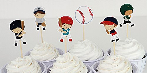 Efivs Arts 24 Pcs Baseball Boy Cake Cupcake Decorative Cupcake Topper for Kids Birthday Party Themed Party Baby Shower
