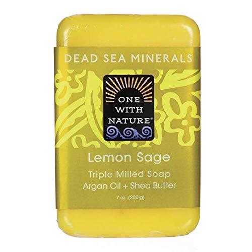 One With Nature Lemon Sage Dead Sea Mineral Soap, 7 Ounce - Soap Lemon Moisturizing