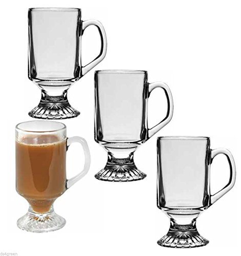 Pedestal Clear Glass Irish Coffee Cappuccino Mug. Set of 4 - Pedestal Mug Cup